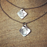 Metal Stamped Simple Barn Pendant Necklace