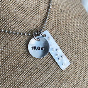 Braille & Print Mom Charm Set - Hand Cut Metal Stamped Tags