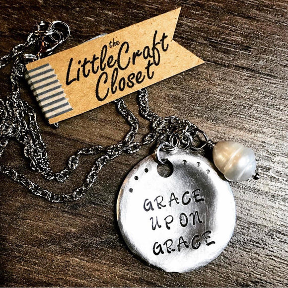 Grace Upon Grace Metal Stamped Custom Made Necklace