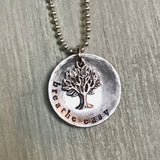Breathe Easy Tree Charm Metal Stamped Custom Made Necklace