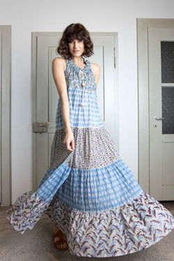 Maxi-Kleid mit Patchwork-Design