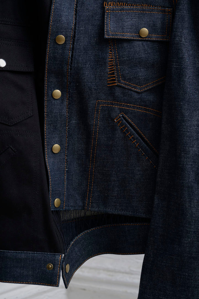 GAP STITCHED TAILORED SLEEVE SNAP JEAN JACKET