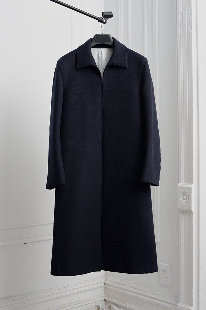 SEAMLESS MELTON BAL COLLAR COAT