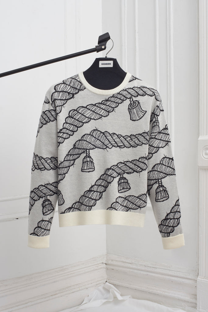 ROPE PATTERN JACQUARD SWEATER
