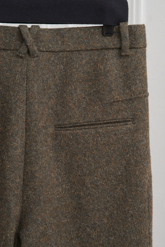 MELTON WOOL TAPERED LEG TROUSERS