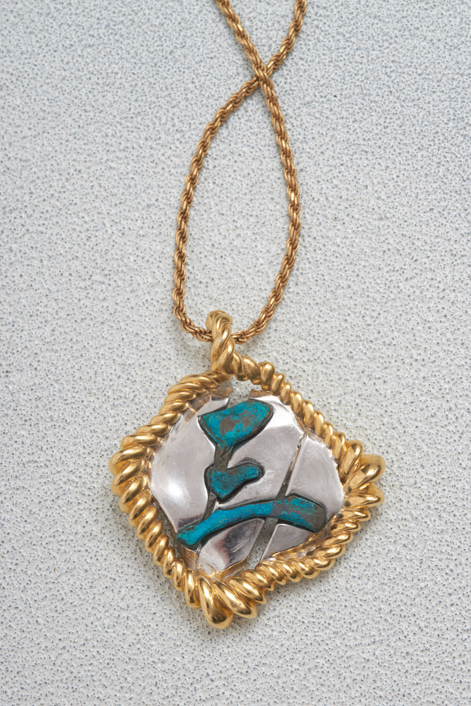 STONE IN ROPE PENDANT