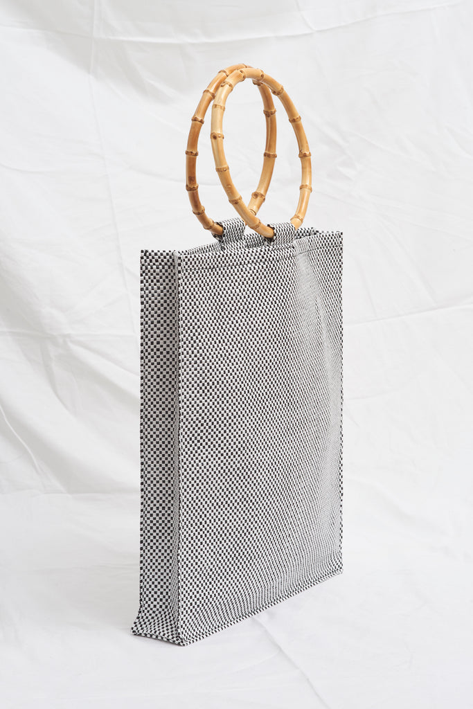 NYLON BASKET-WEAVE BAMBOO TOTE BAG