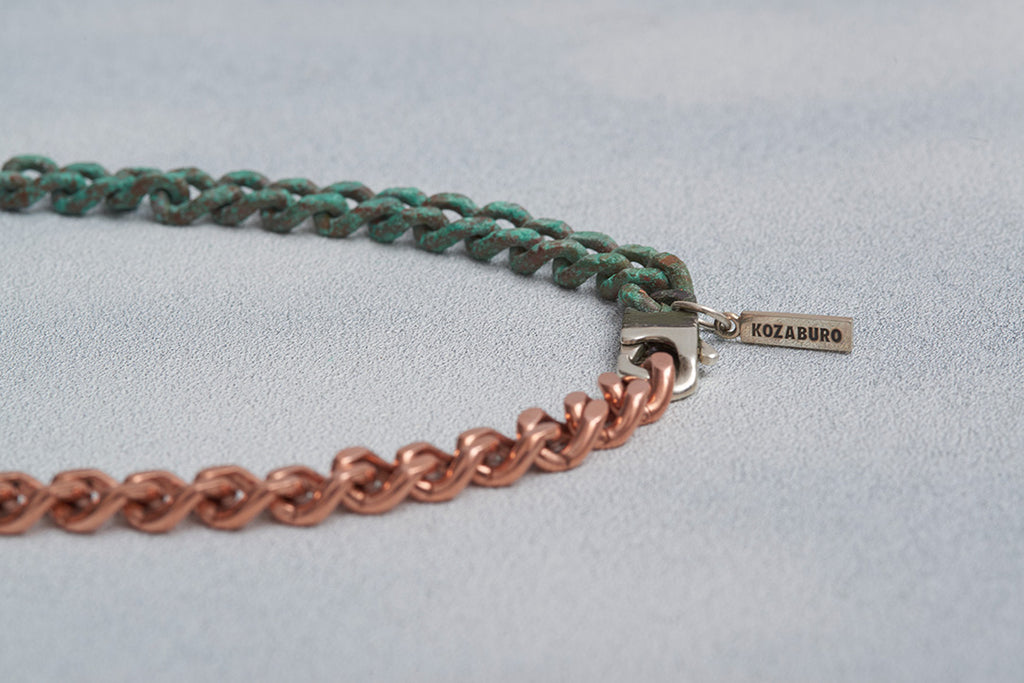 HALF RUSTED COPPER NECKLACE LONG