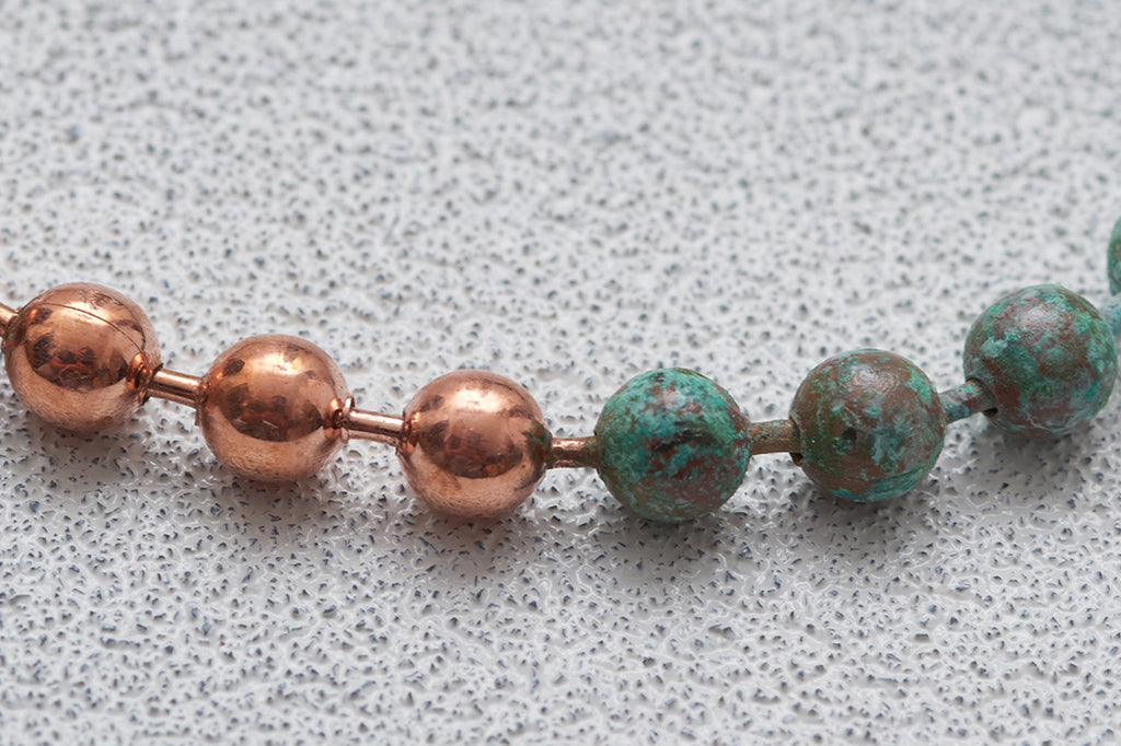 HALF RUSTED BALL CHAIN NECKLACE SHORT