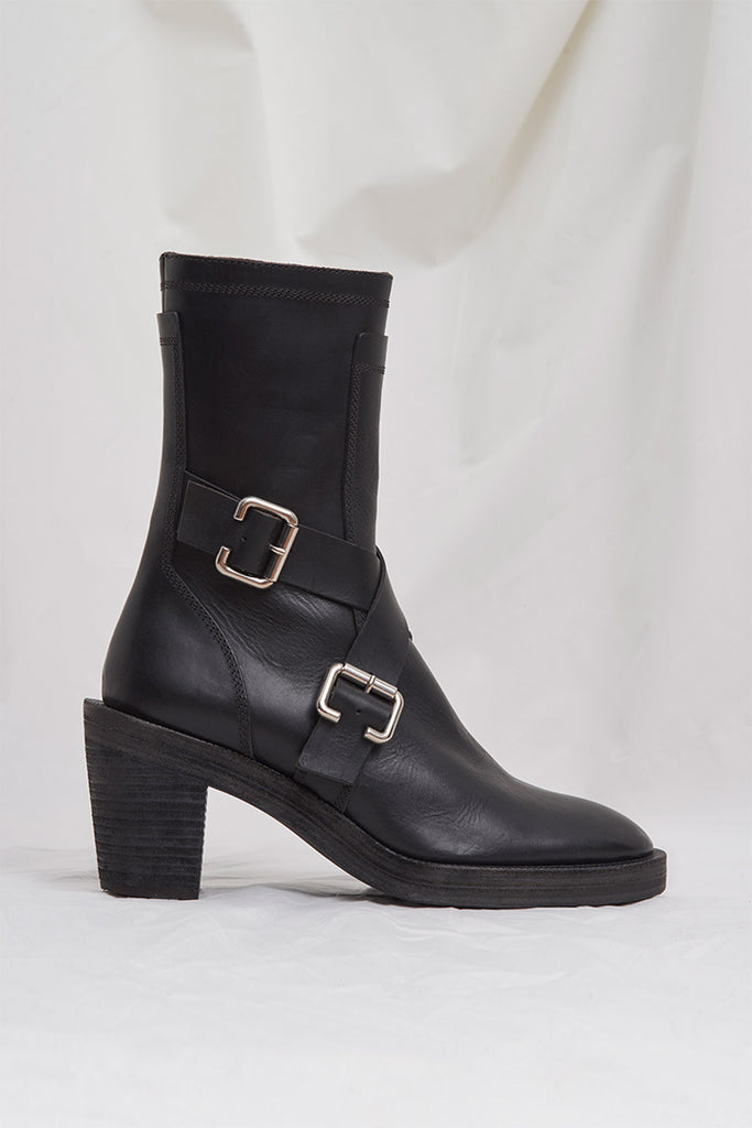 BLACK BUCKLE BELT HIGH HEEL BOOTS