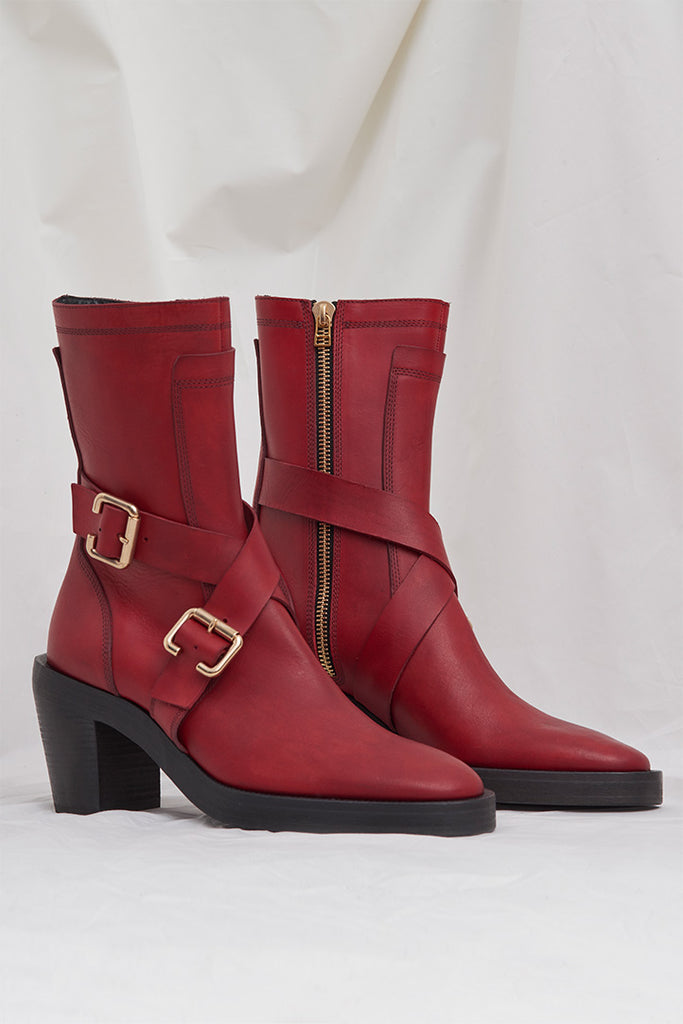 RED BUCKLE BELT HIGH HEEL BOOTS