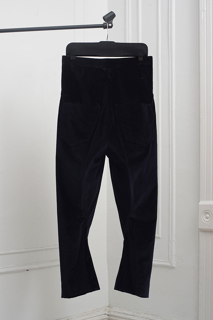 VELVET TAILORED SHAPED TROUSERS