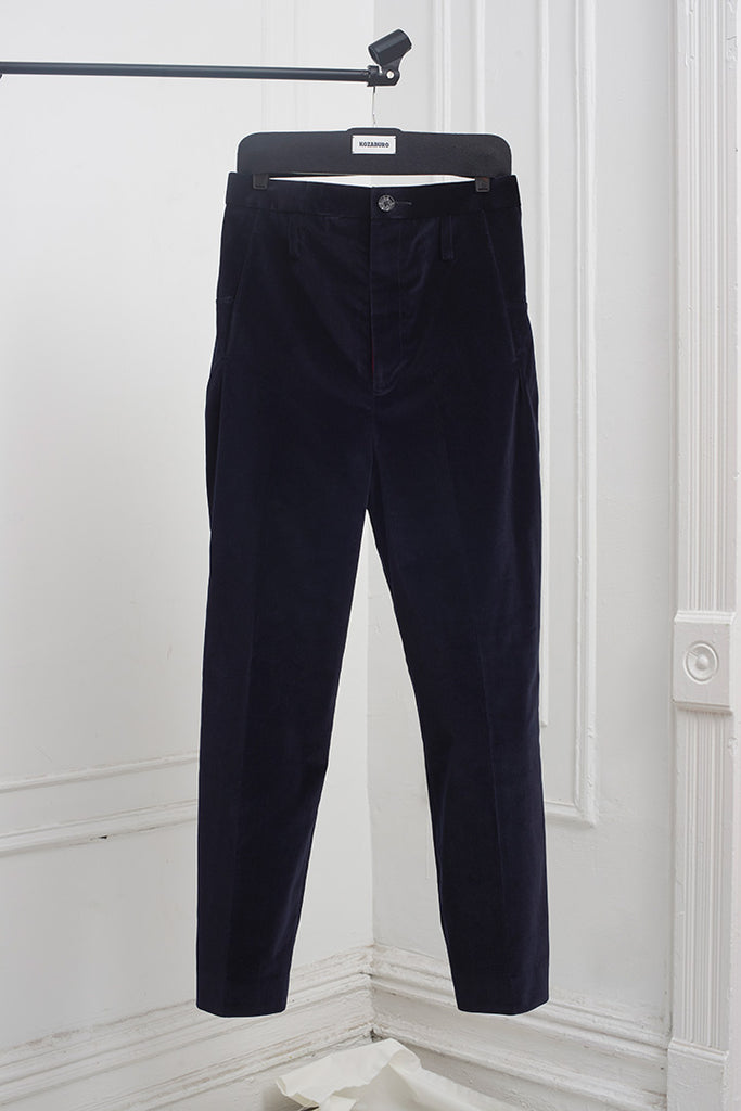 YING-YANG VELVET TAPERED LEG TROUSERS