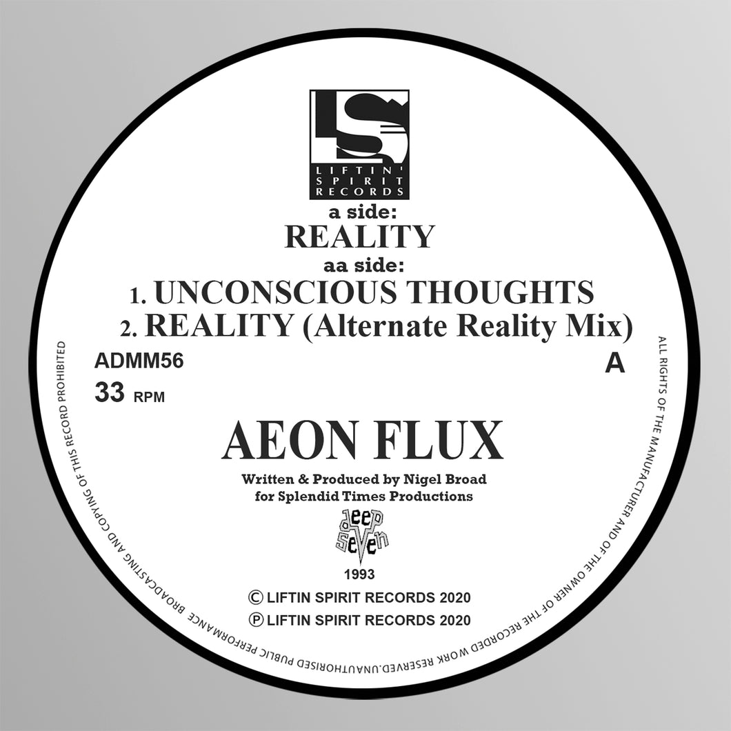 Aeon Flux - Reality / Unconscious Thoughts / Reality (Alternate Reality Mix) PRE ORDER