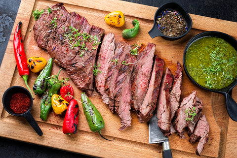 Rosewood Wagyu Flank Steak, Marinated and Grilled served with Chimichuri sauce & peppers