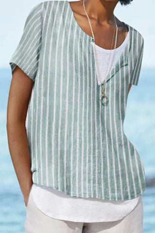 Summer Striped Print V-neck Paneled Short Sleeves Blouse