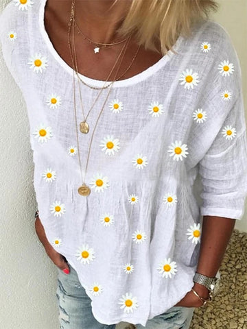 Summer Crew Neck Floral Shift Casual Shirts & Tops
