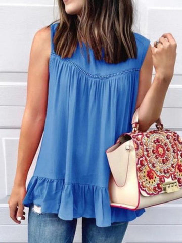 Summer Casual Solid Sleeveless Round Neck Shirts & Tops