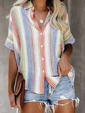 Summer Casual V Neck Striped Short Sleeve Tops
