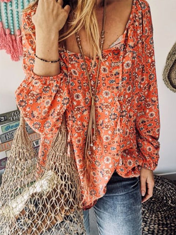 Summer Floral Ruffled Printed Blouse