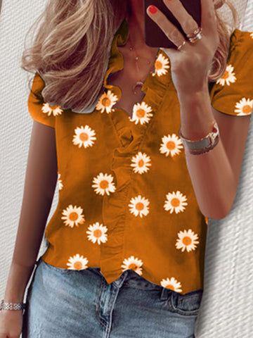 Summer Ruffled Short-Sleeve Daisy Print V-Neck Shirt Women