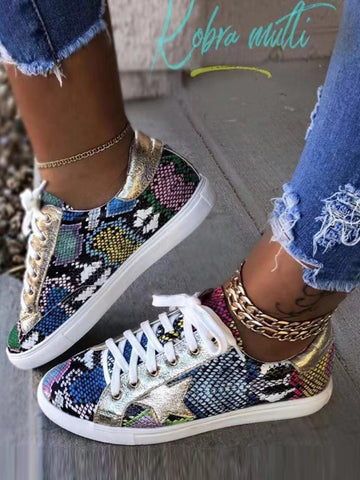 Fashion Comfy Lace-up Multi Snake Sneaker
