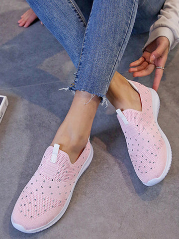 Mesh Rhinestone Decoration Breathable Flat Casual Sneakers