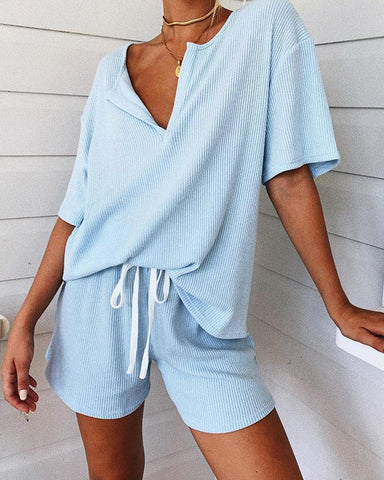 Summer Loose V-neck Fashion Suit