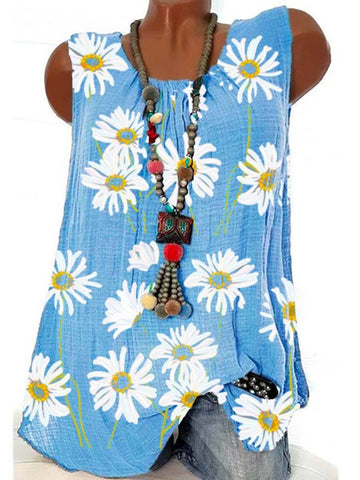 Summer Blue Floral Sleeveless Shift Shirts