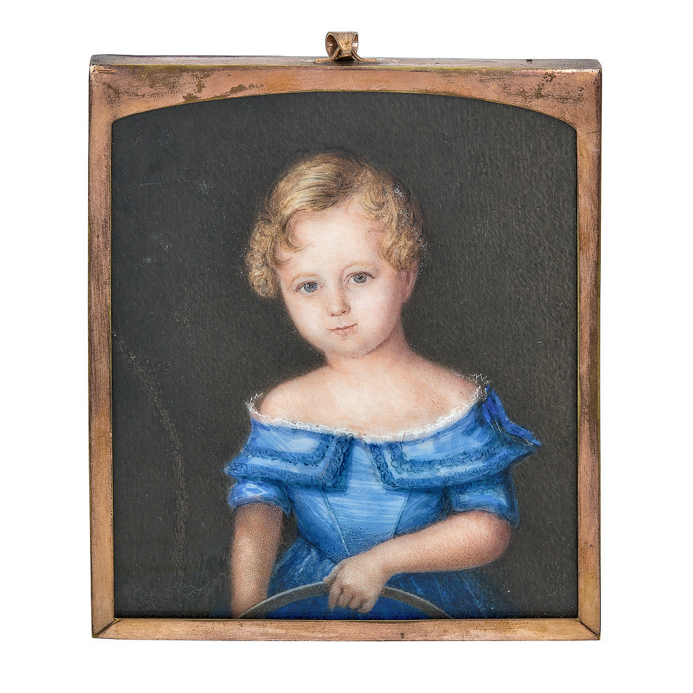 Portrait Miniature of a Young Girl in Blue Holding a Basket