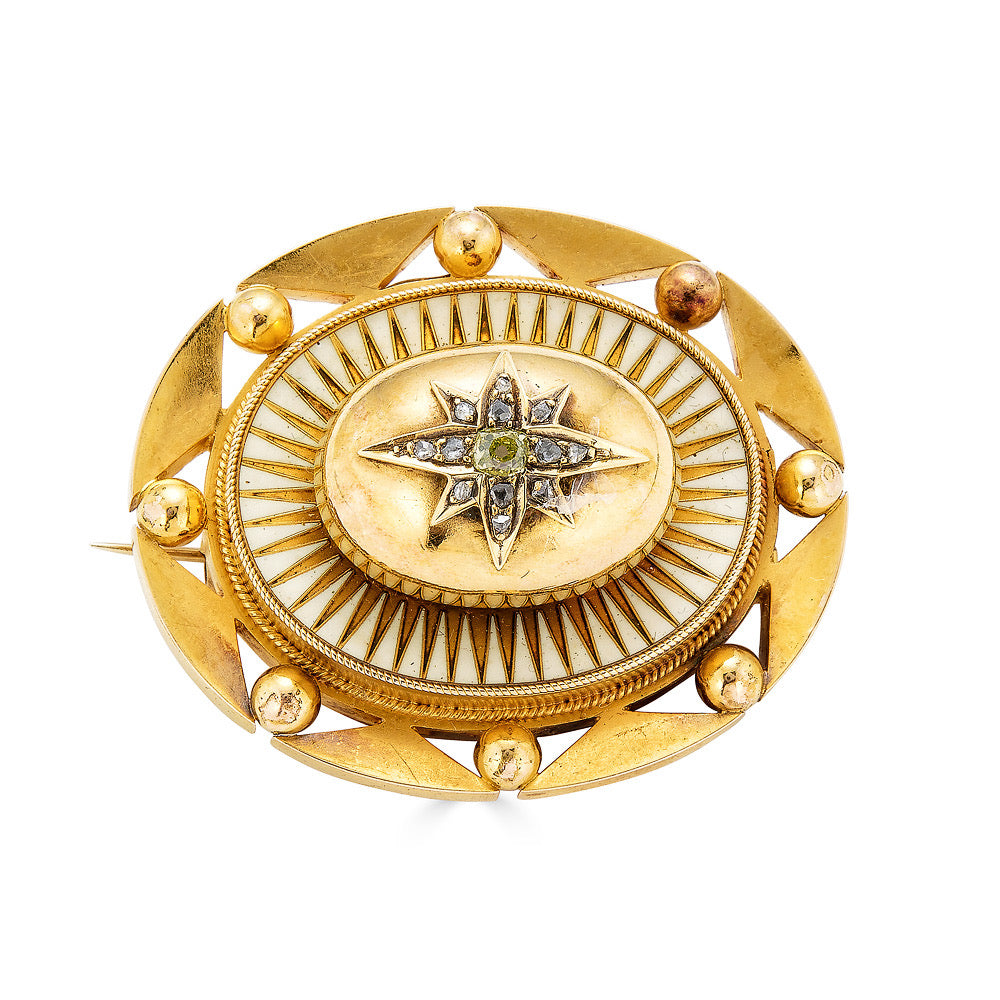 Victorian Diamond Starburst Brooch with White Enamel