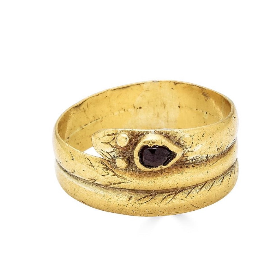 Early Victorian Snake Ring with Ruby