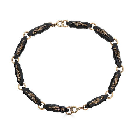Black Onyx & Gold Lily of the Valley Bracelet Set