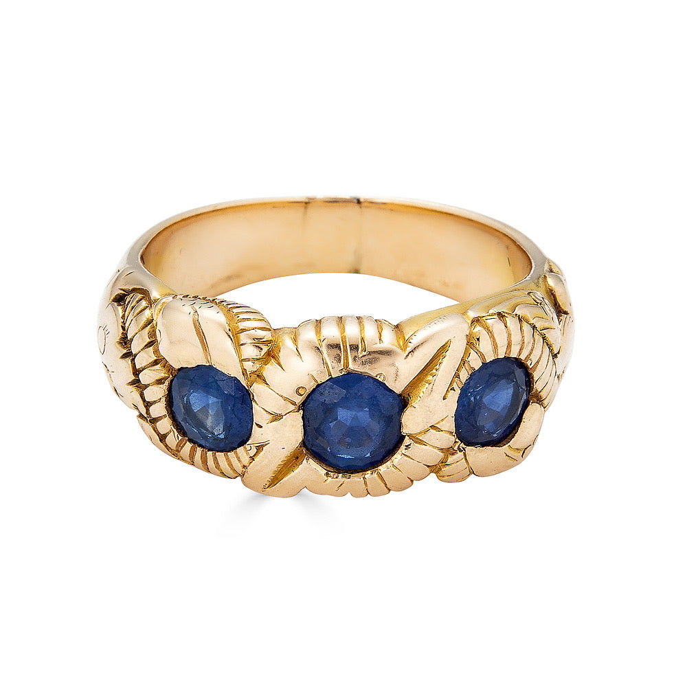 Hand Chased Victorian Ring with Sapphires