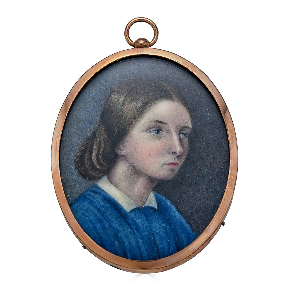 Portrait Miniature of a Nineteenth Century Australian Girl Depicted in Three-Quarter View