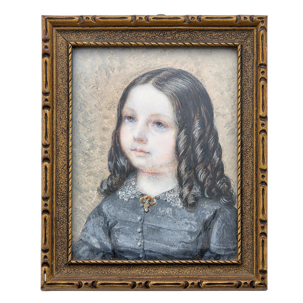 Portrait Miniature of a Jacksonian Era Girl with Long Ringlets of Dark Hair