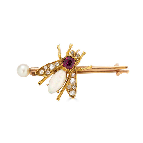 Garnet, Diamond, and Opal Fly Brooch