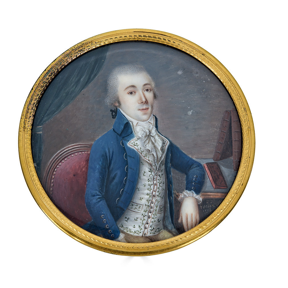 Portrait Miniature Dated 1793 of a Distinguished Gentleman Seated at a Desk