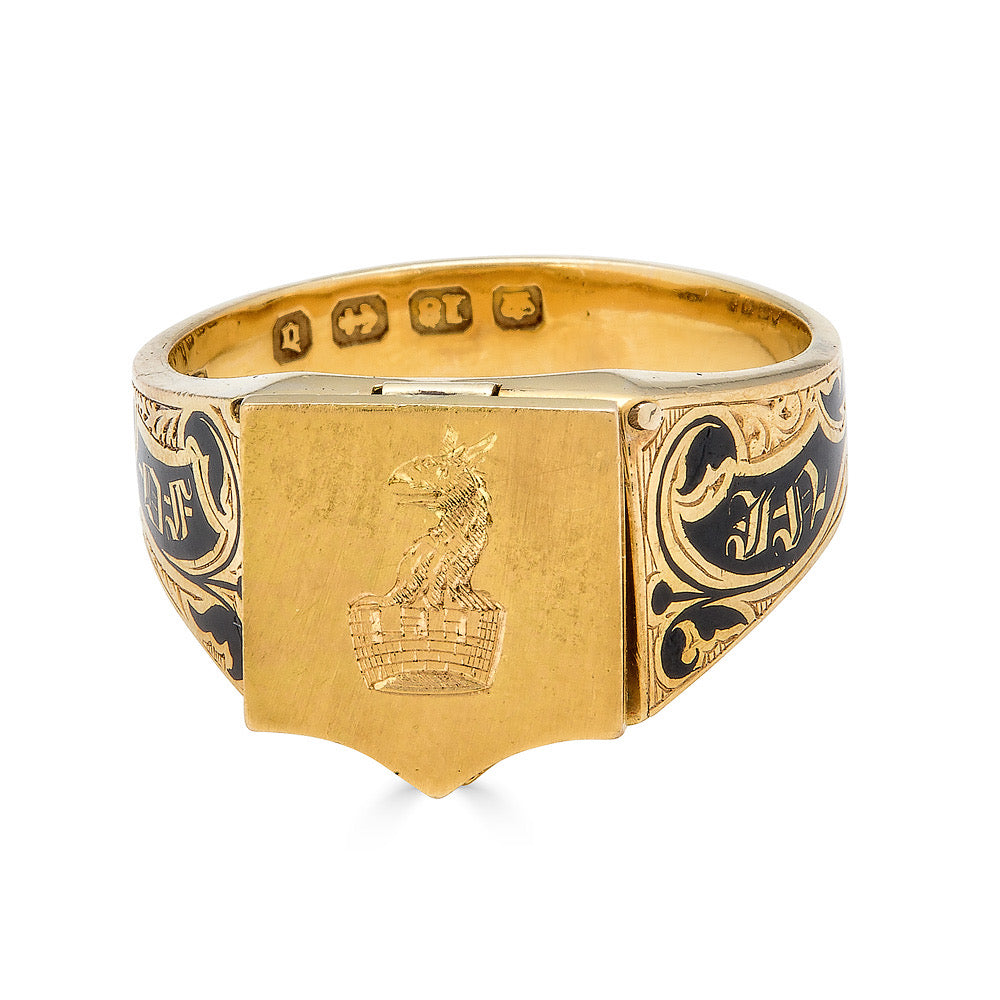 Black Enamel Mourning Ring with Hair Compartment
