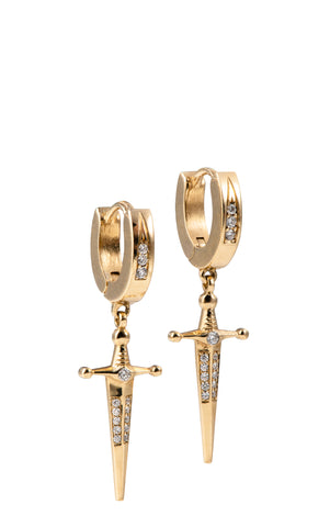 18k Gold Kelly Sword Earrings