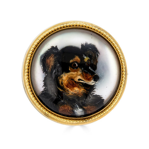 Large Victorian Dog Essex Crystal Brooch