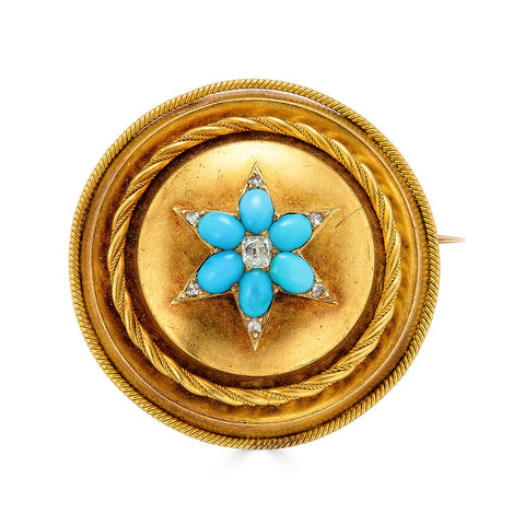 Victorian Etruscan Revival Turquoise and Diamond Brooch