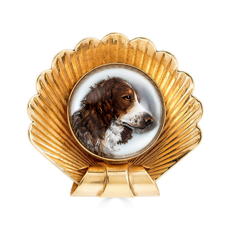 Scalloped Brooch with Essex Crystal of a Spaniel