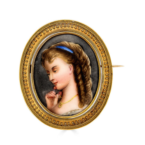 Painted Portrait Miniature of Woman with Cherries