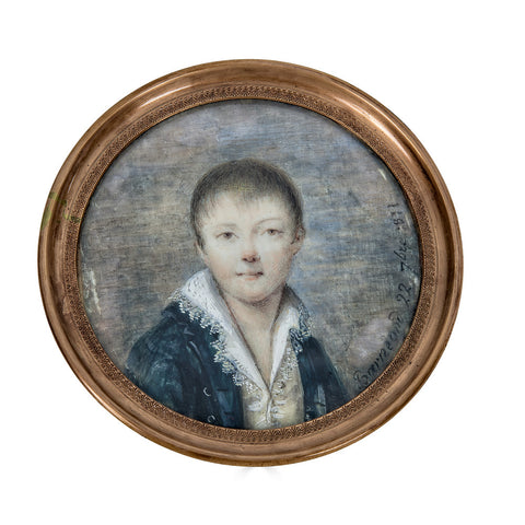 Portrait Miniature Dated 1811 of Young French Boy of the Napoleonic Era