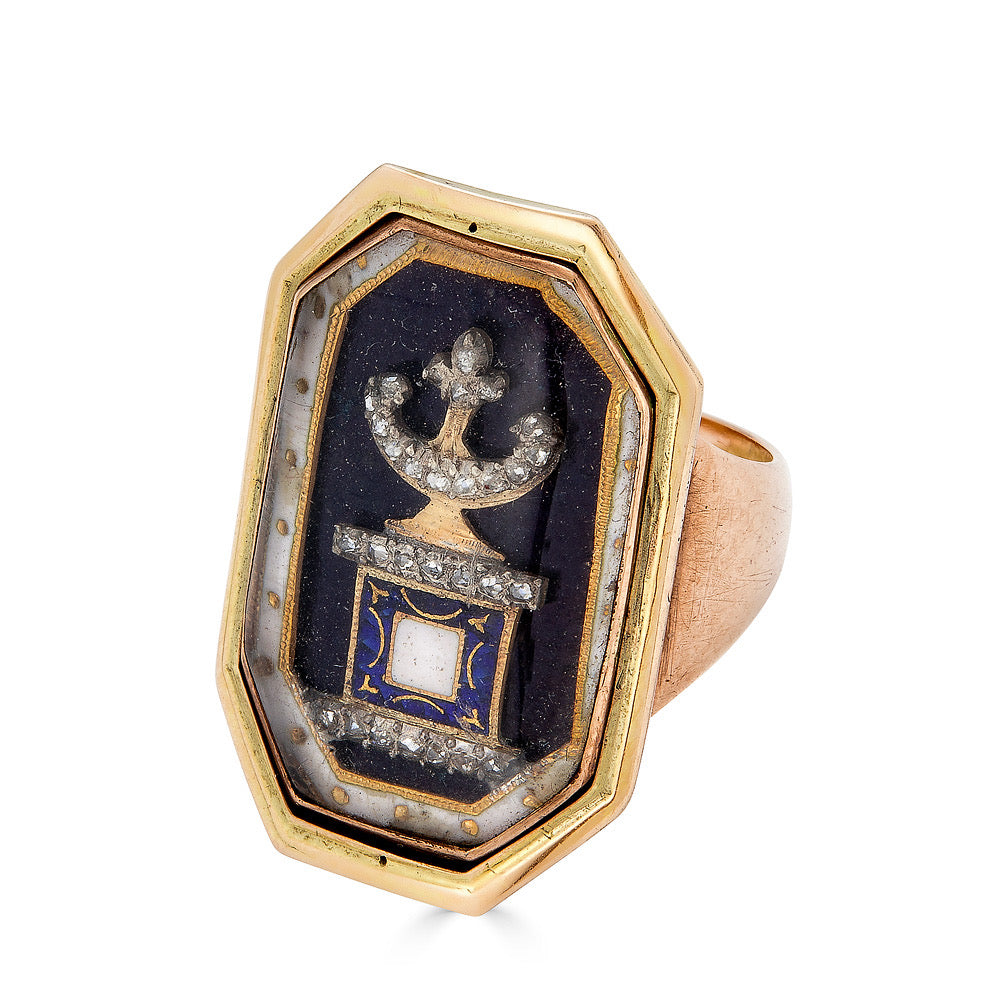 C. 1790 Georgian Mourning Ring with Diamonds