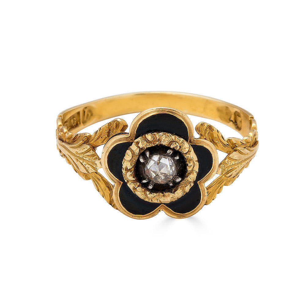Victorian Black Enamel & Diamond Ring