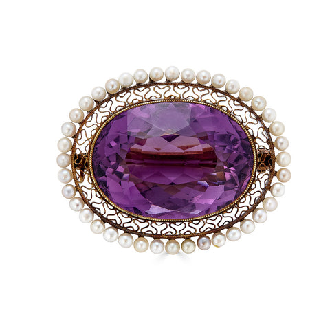 Victorian Amethyst and Seed Pearl Lace Pin