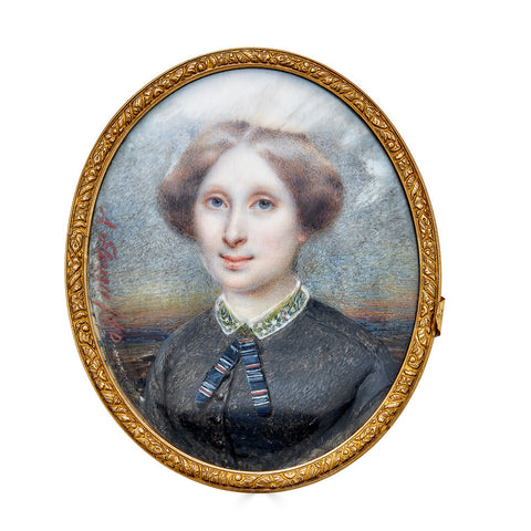 Portrait Miniature by Marie Aimee-Amelia Fleury, of a Mid Nineteenth Century French Lady