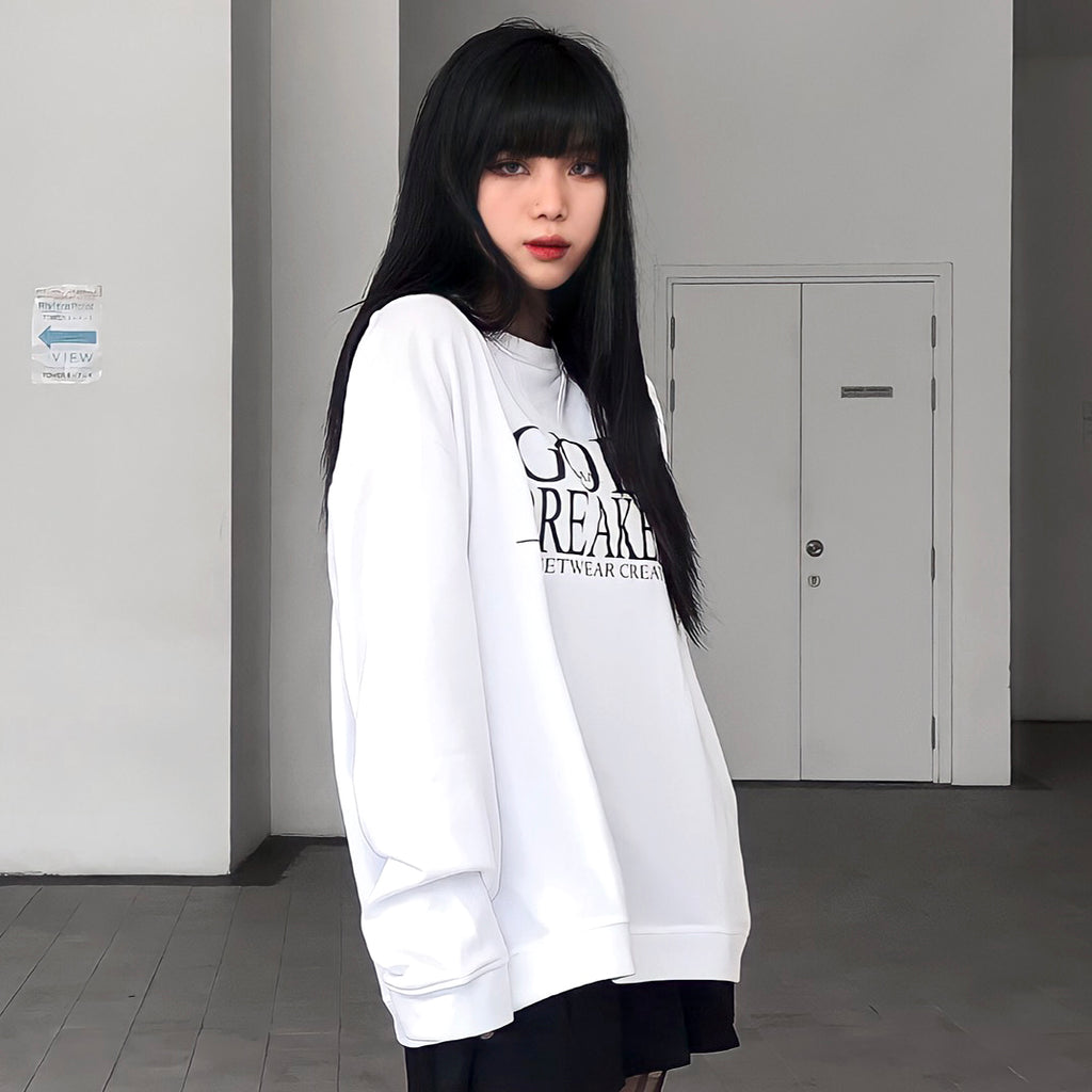 iGB White Basic Sweater - Áo Sweater Basic Màu Trắng iMA God Breaker